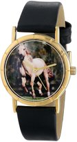 Whimsical Watches Kids' P0110024 Classic American Saddlebred Horse Black Leather And Goldtone Photo Watch