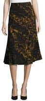 Lafayette 148 New York Johanna Leopard-Print A-line Skirt, Black Multi