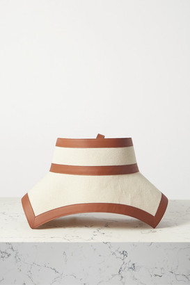 Loewe Leather-trimmed Cotton-canvas Waist Belt - Tan