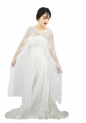 YuRongsxt Long Bridal Shawls Wrap Lace Applique Scarf Capes Lace Cover Up C04 - off-white - Free size
