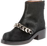Givenchy Calf Hair Curb Chain Ankle Boot, Black