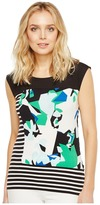 Calvin Klein Mixed Media Print and Striped Top Women's Clothing