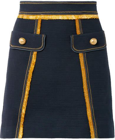 Peter Pilotto Fringed Cotton-blend Mini Skirt - Navy
