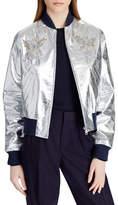 Ralph Lauren Collection Juliet Beaded-Embellished Metallic Lamb Leather Bomber Jacket