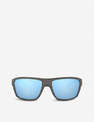 Oakley OO9416-64 Split Shot woodgrain and Prizm square-frame sunglasses