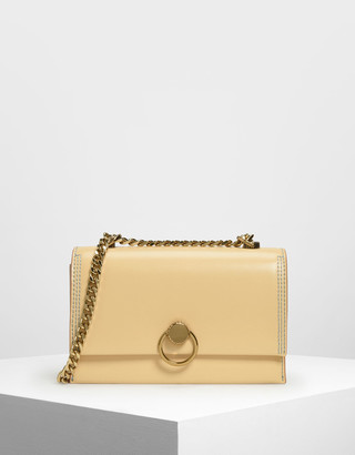 Charles & Keith Chain & Strap Push Lock Shoulder Bag