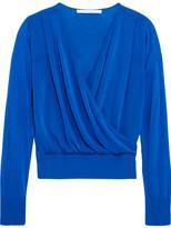 Diane von Furstenberg Wrap-effect Cotton-blend Sweater - Cobalt blue