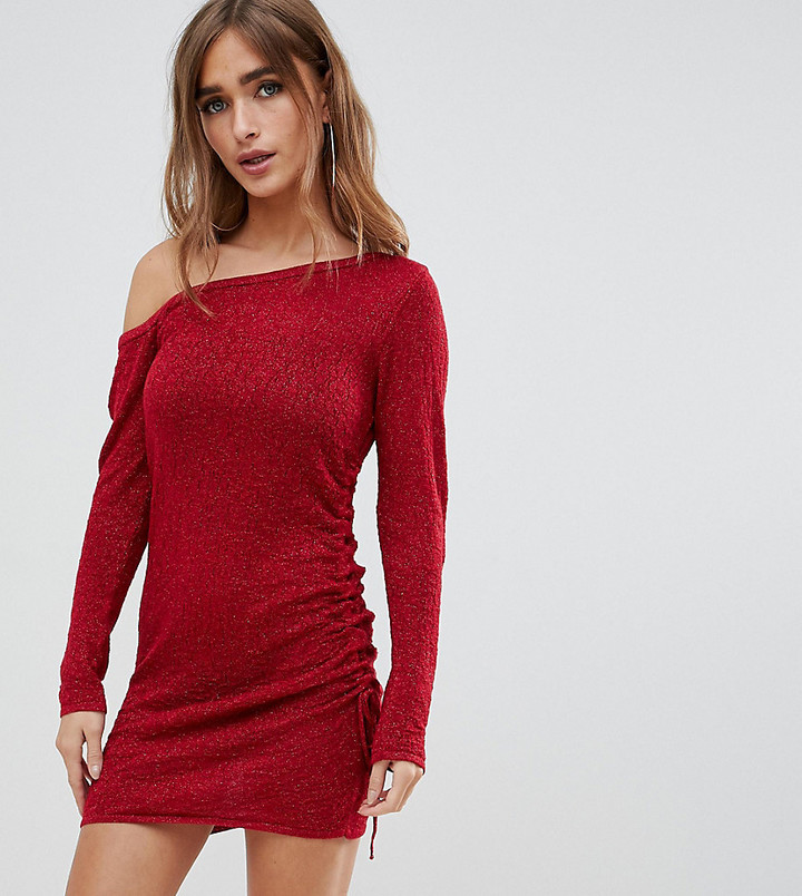 ASOS DESIGN Petite asymmetric ruched side knitted mini dress