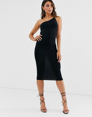 ASOS DESIGN going out one shoulder bodycon midi dress in black