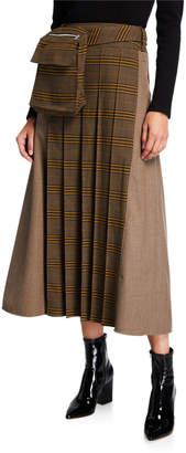 ADEAM Glen Plaid Pleated Utility Skirt