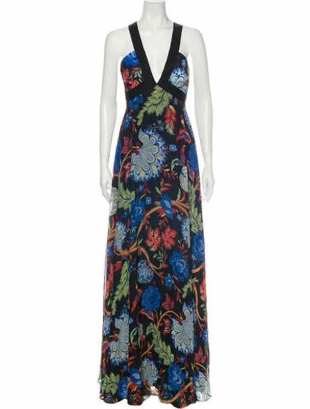 Alice + Olivia Floral Print Long Dress Black
