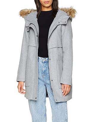 Only Women's Onlnoah Hooded Wool Coat OTW Light Grey Melange, 8 (Size: X-Small)