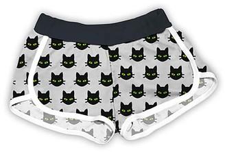 Urban Smalls Girls' Casual Shorts Multi/Black - Light Gray & Black Cats Shorts - Toddler & Girls