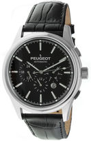 Peugeot Mens Black Dial Black Leather Strap Automatic Watch