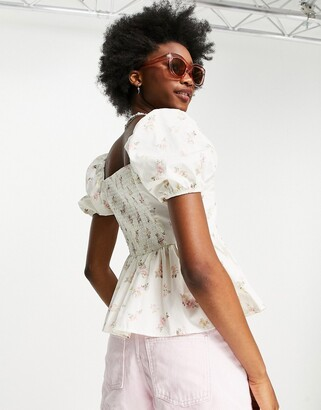 New Look shirred top in white floral