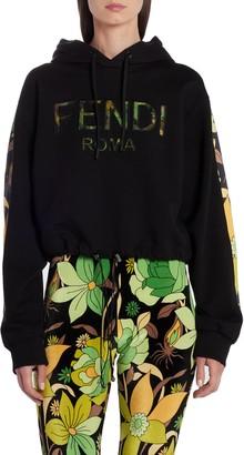 Fendi Floral Logo Crop Drawstring Hoodie
