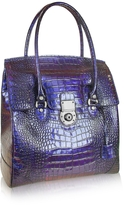 L.a.p.a. Croco Stamped Leather Flap Tote Bag