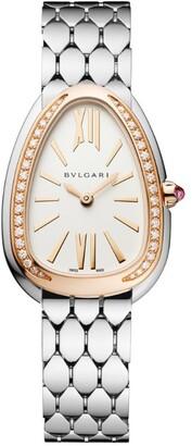 Bvlgari Stainless Steel and Rose Gold Diamond Serpenti Seduttori Watch 33mm