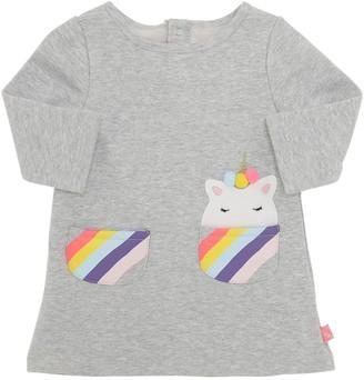 Billieblush Unicorn Patch Cotton Sweatshirt Dress