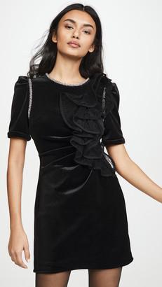 Self-Portrait Velvet Ruffle Mini Dress