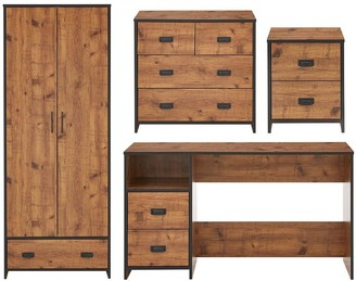 Jackson 4 Piece Package - Kids 2 Door, 1 Drawer Wardrobe, 2+2 Drawer Chest,2 Drawer Bedside Chest and Desk