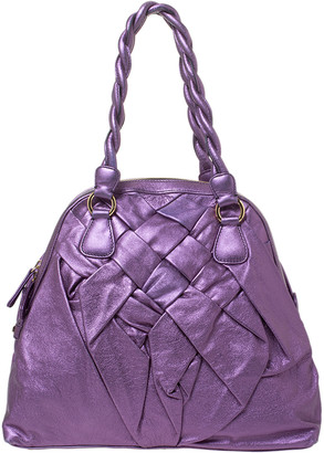 Valentino Purple Leather Woven Couture Satchel