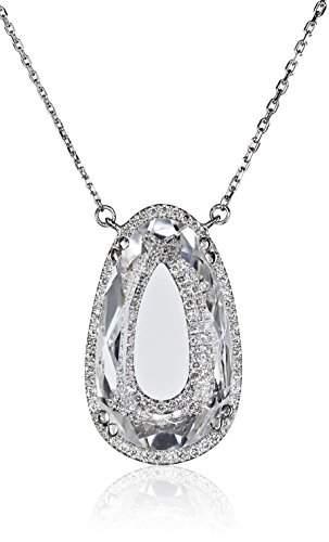 Suzanne Kalan Vitrine Pear White Topaz and Diamond Necklace