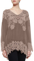 Johnny Was Lacy V-Neck Georgette Tunic, Petite
