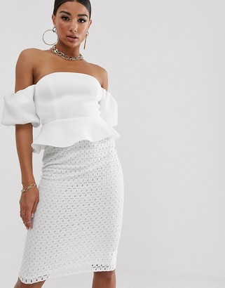 Asos Design DESIGN bubble sleeve lace skirt midi dress-White