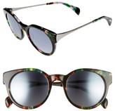Salt Women's Houston 49Mm Polarized Round Sunglasses - Tropical Flower/ Silver Mirror