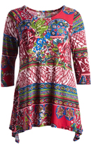 Glam Red & Blue Geometric Sidetail Tunic - Plus