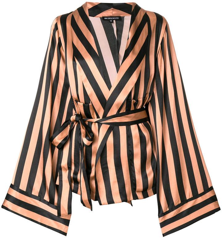 Ann Demeulemeester belted striped jacket