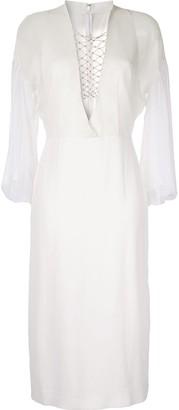 Dion Lee lace-up detail midi dress