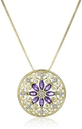 18k Yellow Gold Plated Sterling Silver Genuine Garnet and Diamond Accent Filigree Mandala Pendant Necklace