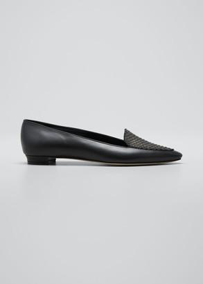 Manolo Blahnik Agos Leather & Snake Loafers, Black
