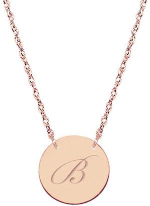 Jane Basch 14K Rose Gold Initial Disc Necklace (A-Z)