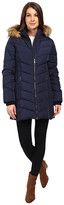 Tommy Hilfiger Chevron Quilted Coat with Faux Fur Collar