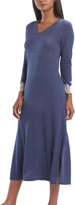 Natori Luxe Shangri La V-Neck Lace Cuff Nightgown