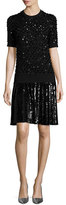 Michael Kors Sequined Pleated T-Shirt Dress, Black