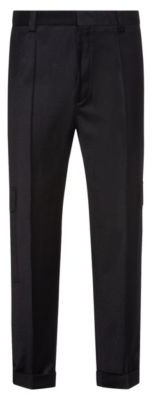 HUGO BOSS Tapered Fit Pants In Stretch Wool With Turnups - Black