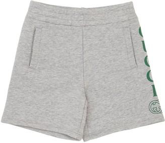 Gucci Logo Print Cotton Sweat Shorts
