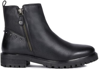 Geox Hoara Leather Ankle Boots with Chunky Sole