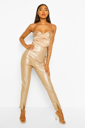 boohoo Tall Leather Look Split Front Skinny Trousers