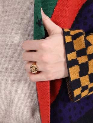 Versace medusa head gold tone ring