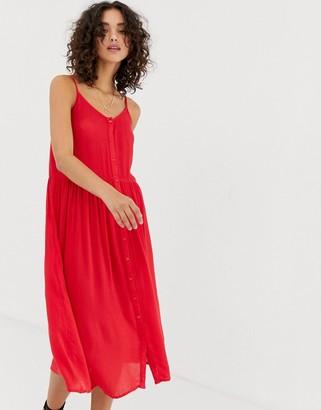Vero Moda button front midi dress-Red