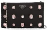 Prada Catene Crystal-embellished Padded-nylon Clutch - Womens - Black Pink