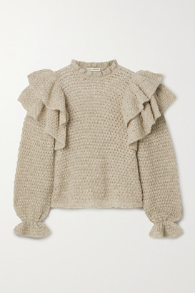 Ulla Johnson Camilla Ruffled Open-knit Alpaca-blend Sweater - Beige