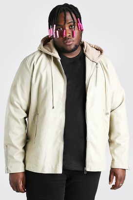 boohoo Mens Beige Plus Size Leather Look Biker With Hood, Beige