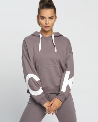 Calvin Klein Women's Purple Hoodies - Jumbo Blouson Sleeve Pullover Hoodie - Size XS at The Iconic