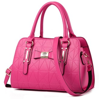 Dunland PU Leather Womens Shoulder Bags Bow Cylinder Top-Handle Handbag Tote Purse Bag Black